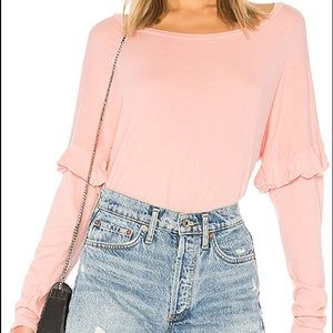 Michael Lauren Pink Irving Ruffle Top